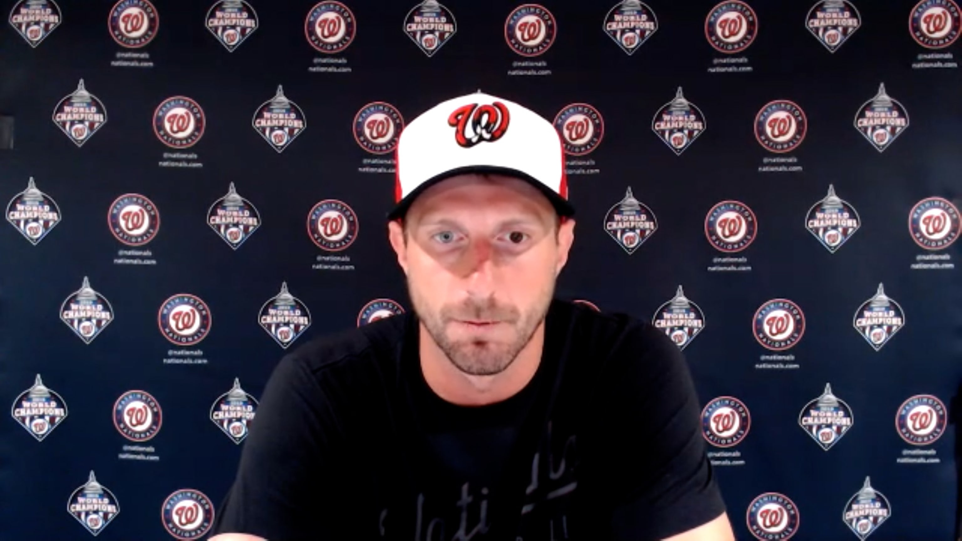 Max Scherzer during a press conference announces he'll start opening day for the Nationals.