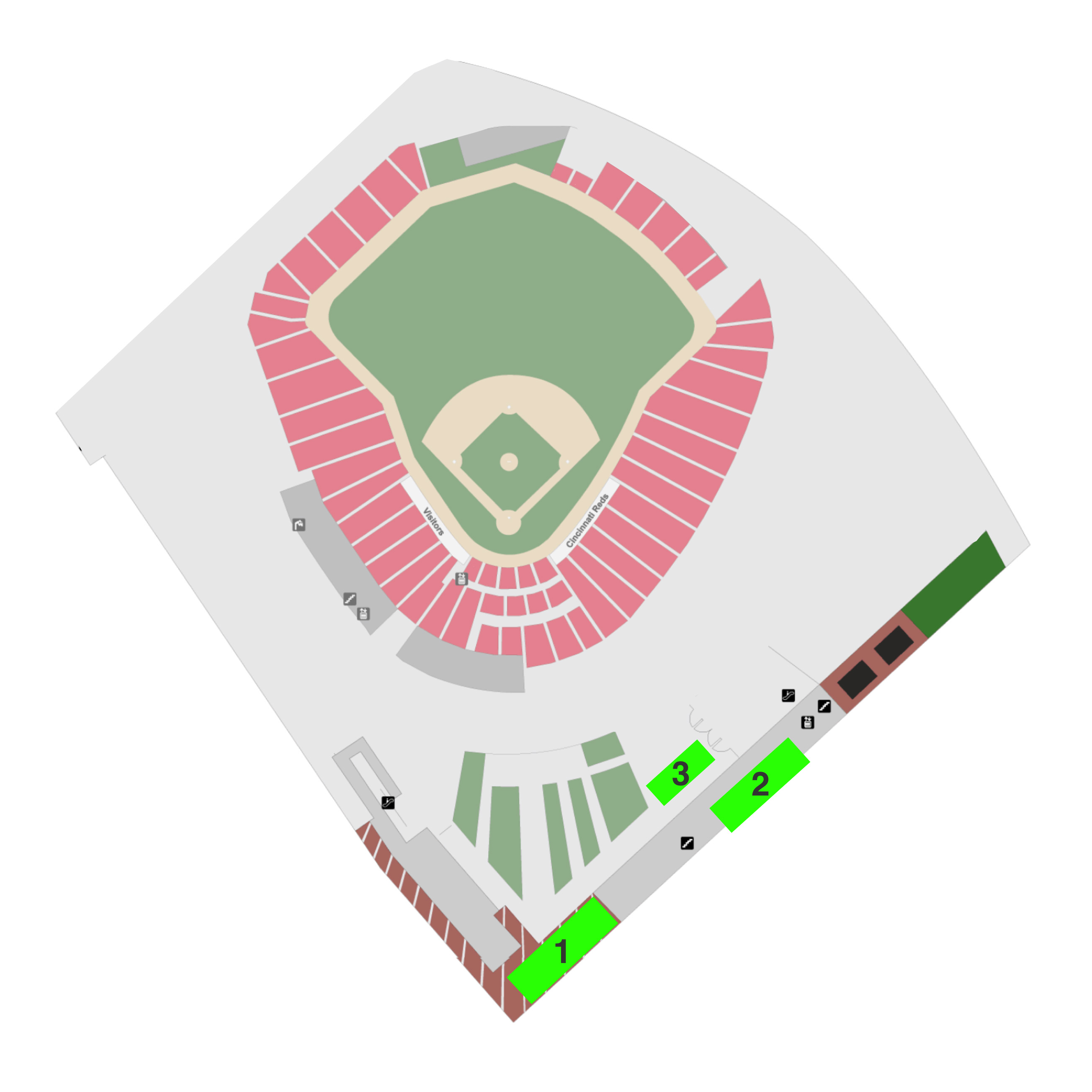 Map for Great American Ball Park Brick Locator