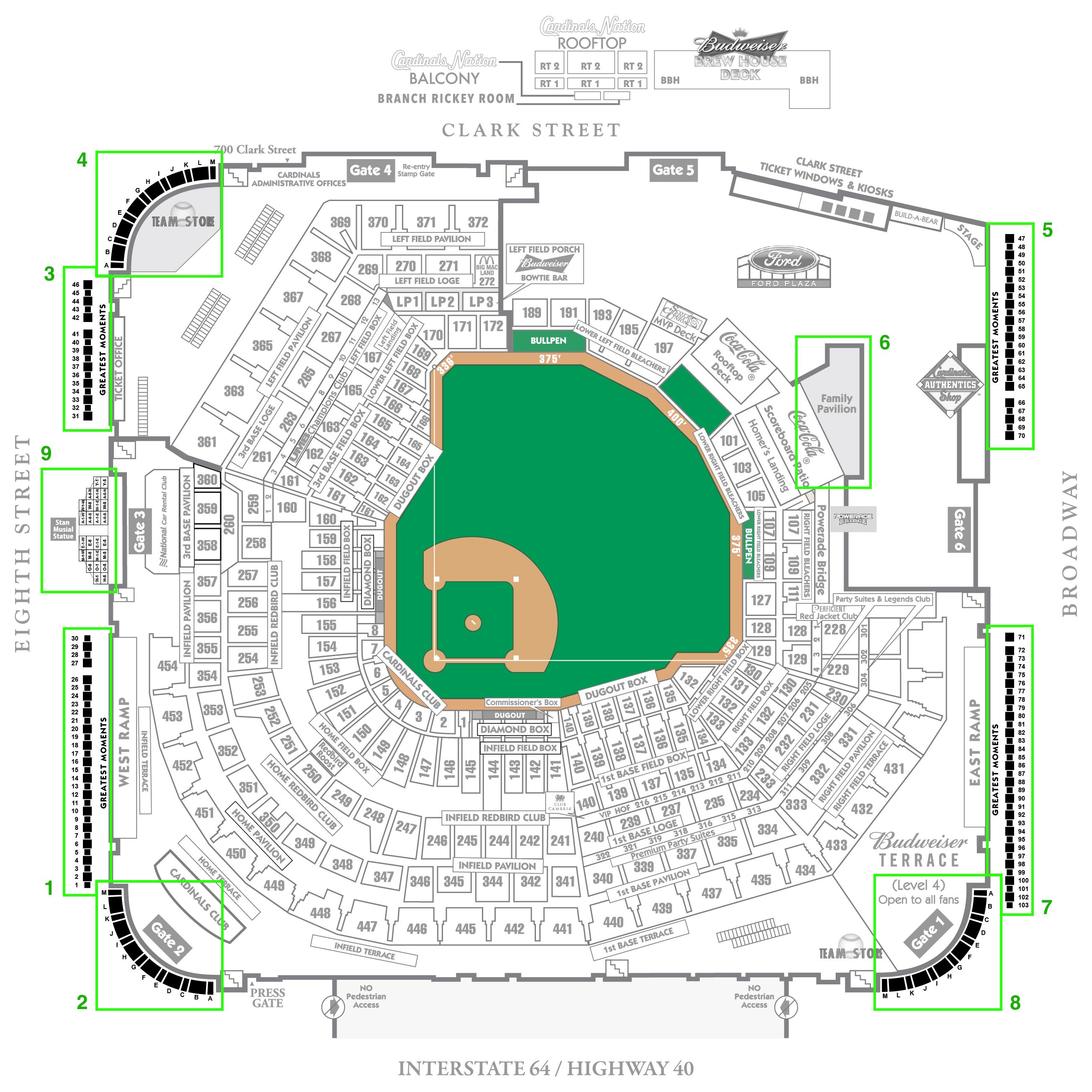 Map for Busch Stadium Brick Locator