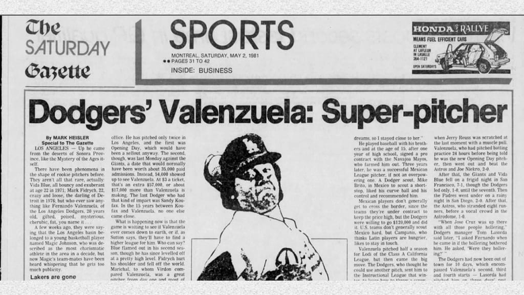 The May 2, 1981, headline in the Montreal Gazette made clear how big a deal Valenzuela already was.