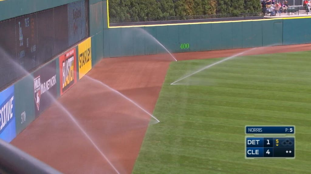 Something finally went wrong for the Indians: The sprinklers