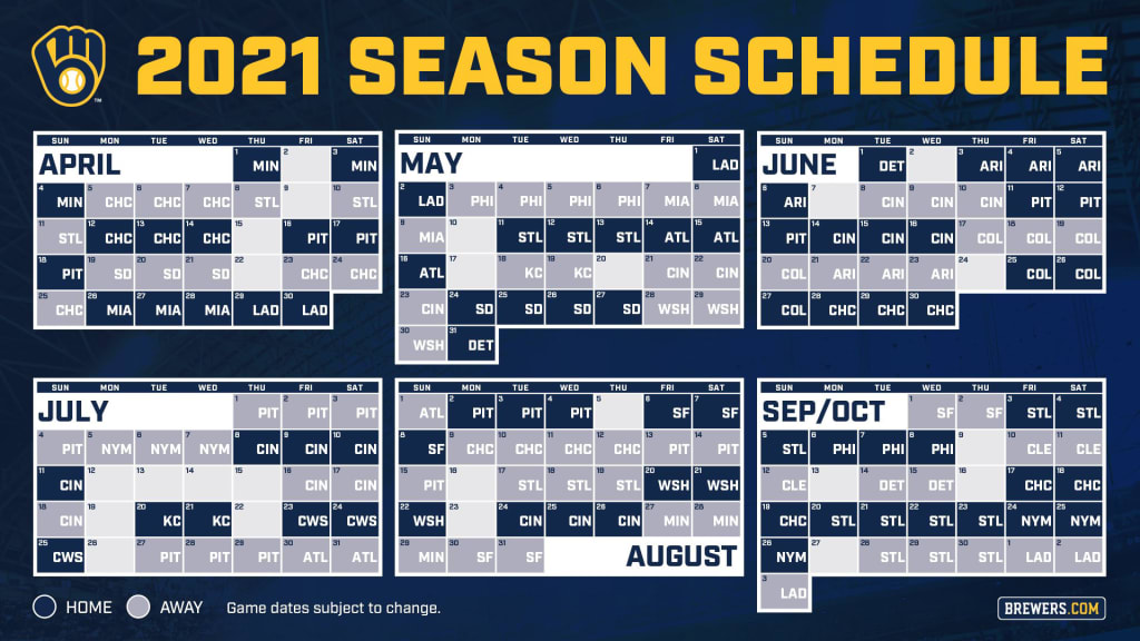 Brewers announce 2021 regular season schedule