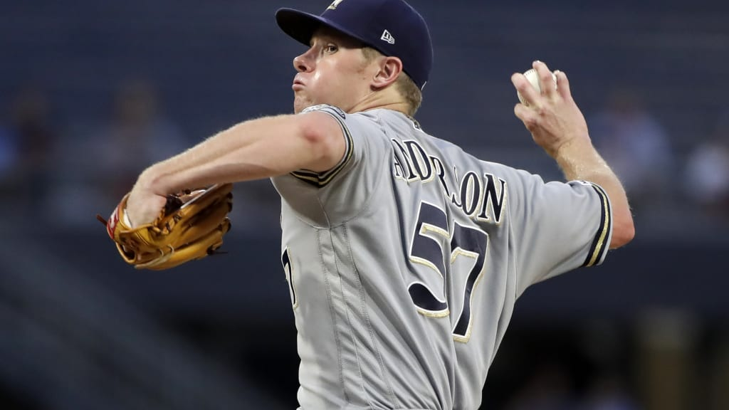 Chase Anderson Milwaukee Brewers Spring Training Baseball Player Jersey