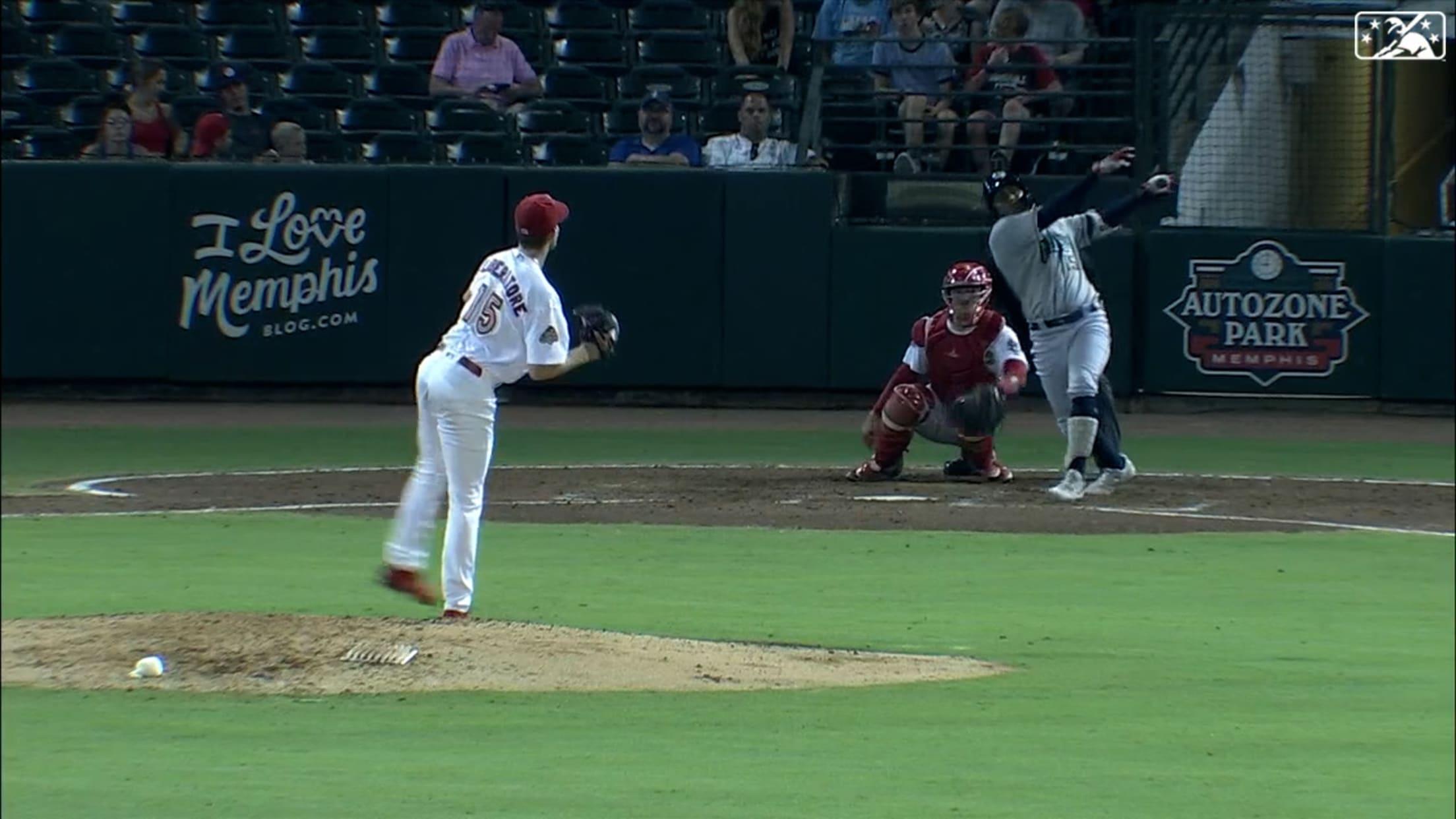 Pache belts a long home run