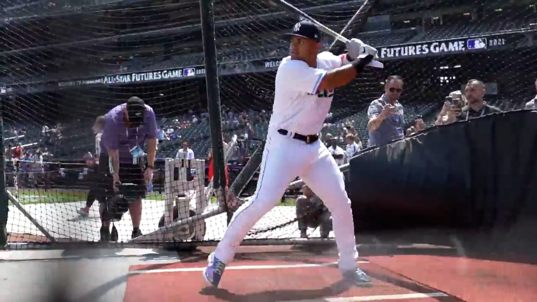 Dominguez takes batting practice