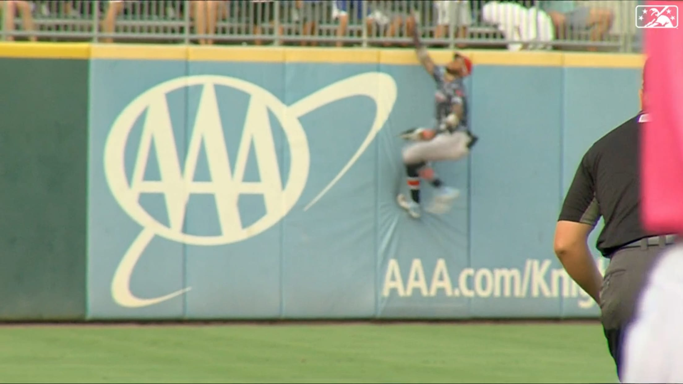 Harrison climbs wall for catch