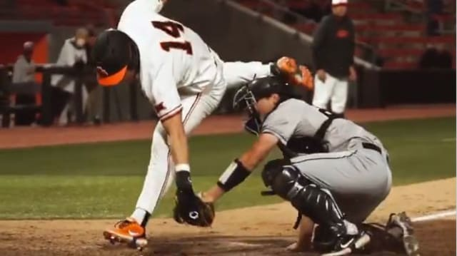 This college baseball player's slide is epic