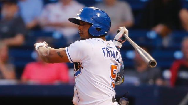 Franco triples twice, extends hit streak