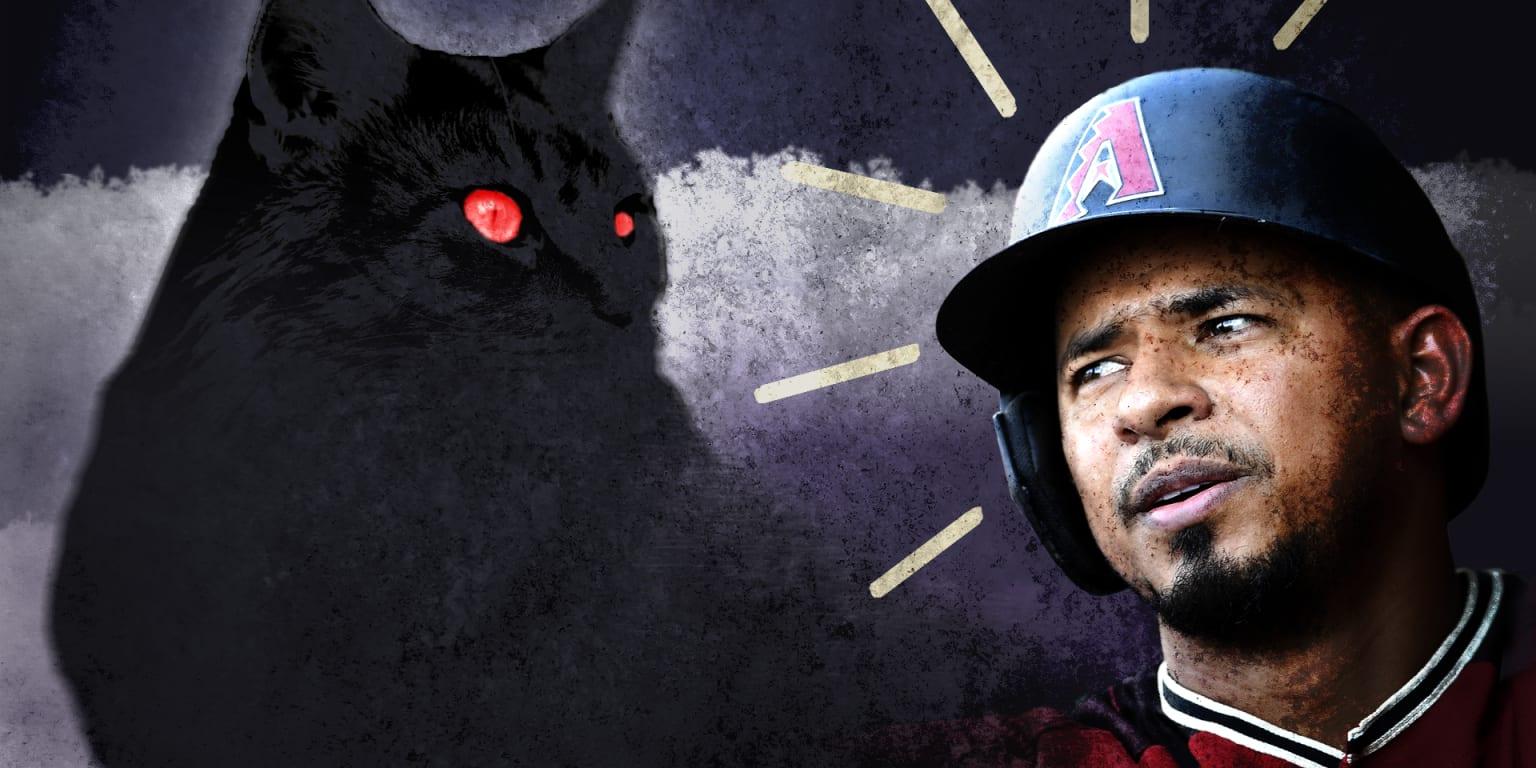 Apparently the D-backs' Eduardo Escobar is deathly afraid of cats
