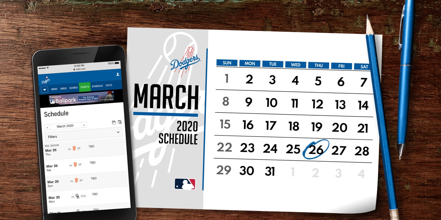 This is a picture of Revered Dodgers Printable Schedule 2020