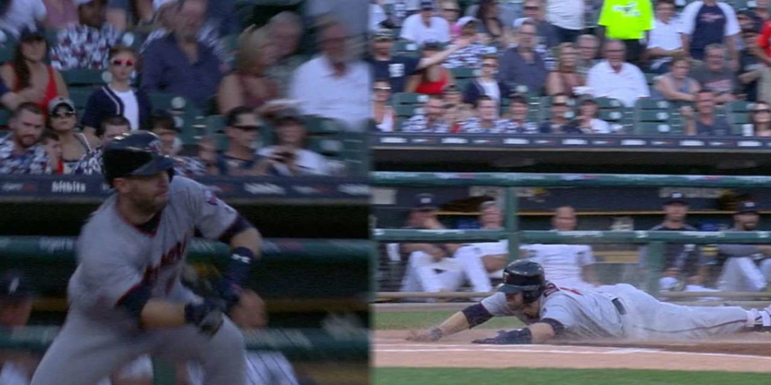 Brian Dozier turned a drag bunt into a leadoff 'home run' for the Twins