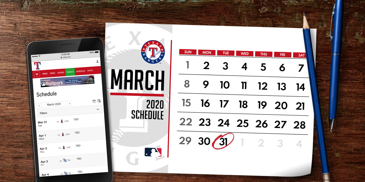 picture regarding Texas Rangers Printable Schedule known as Rangers 2020 plan Texas Rangers