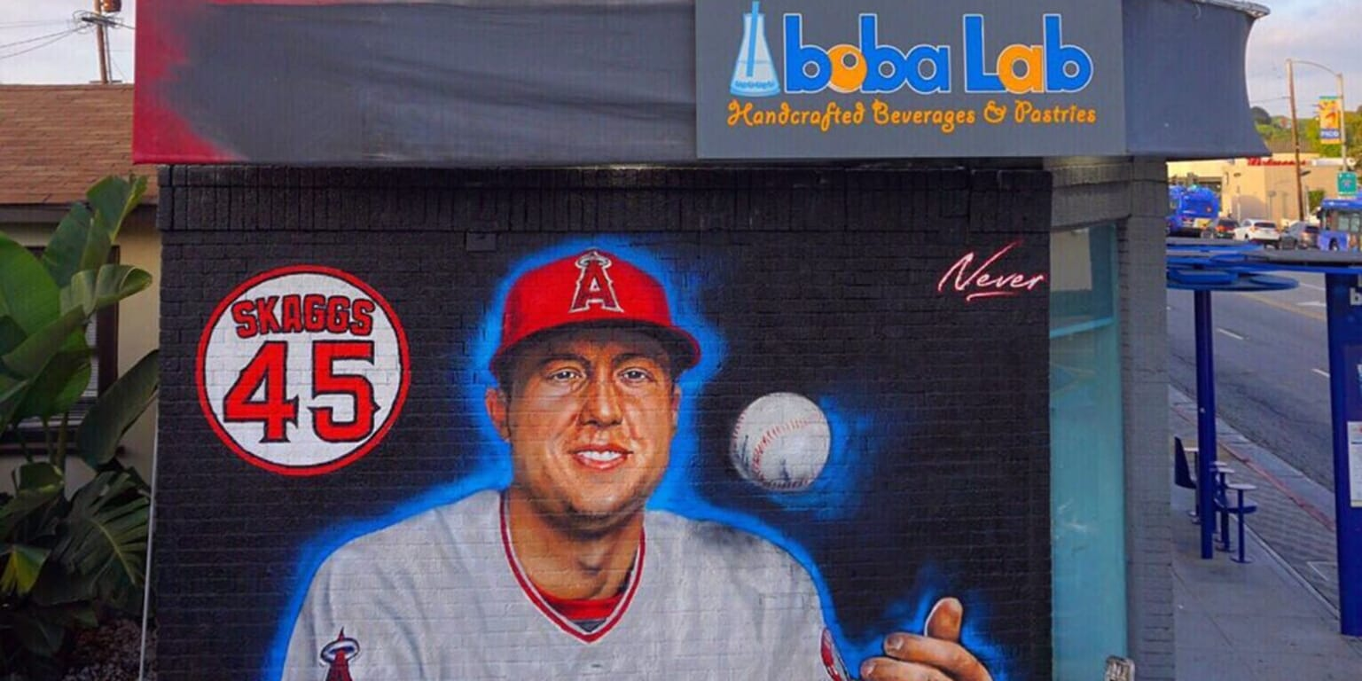 There's an incredible mural honoring Tyler Skaggs near his old baseball field at Santa Monica High School
