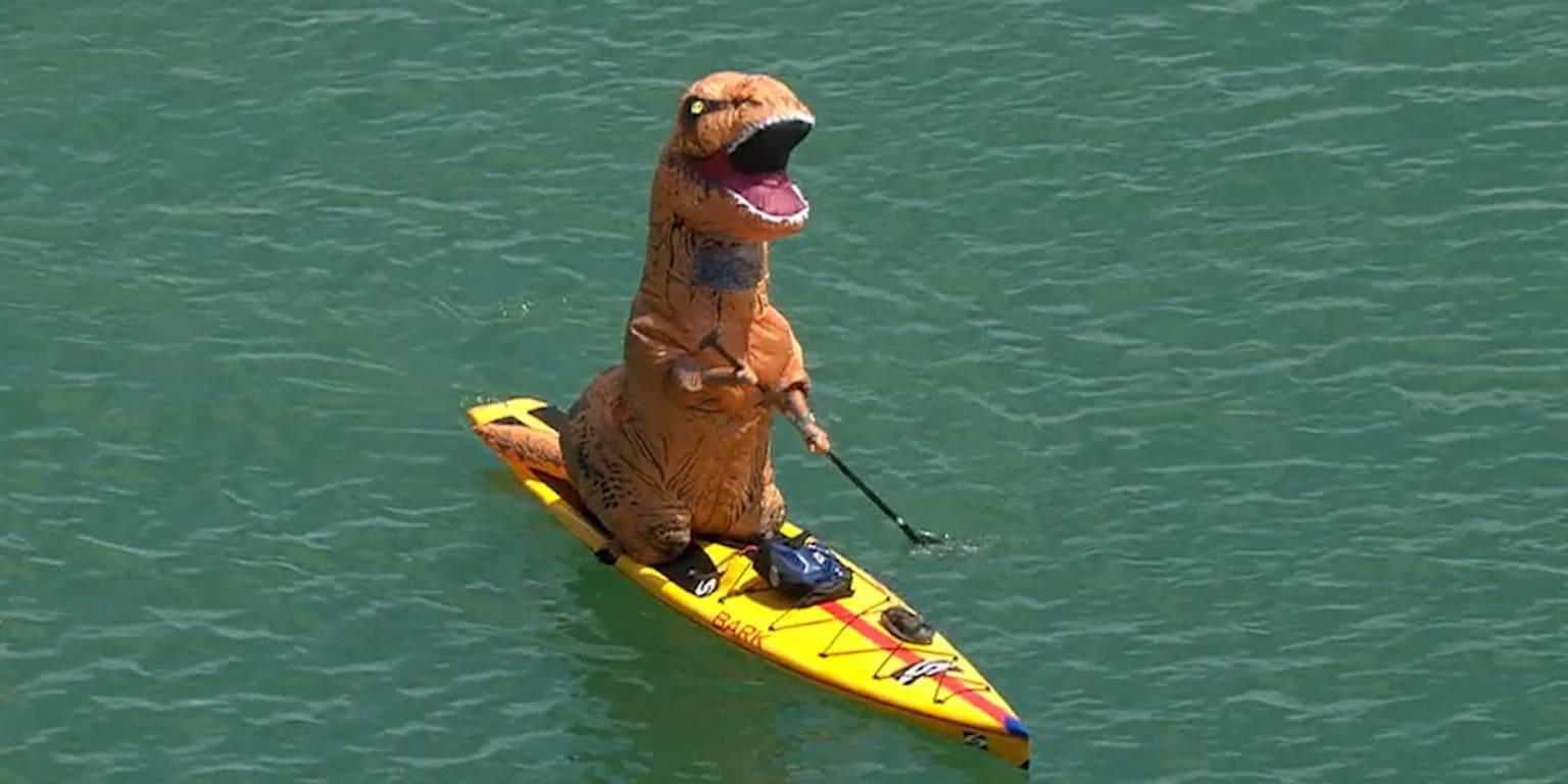 Dinosaur paddles through McCovey Cove