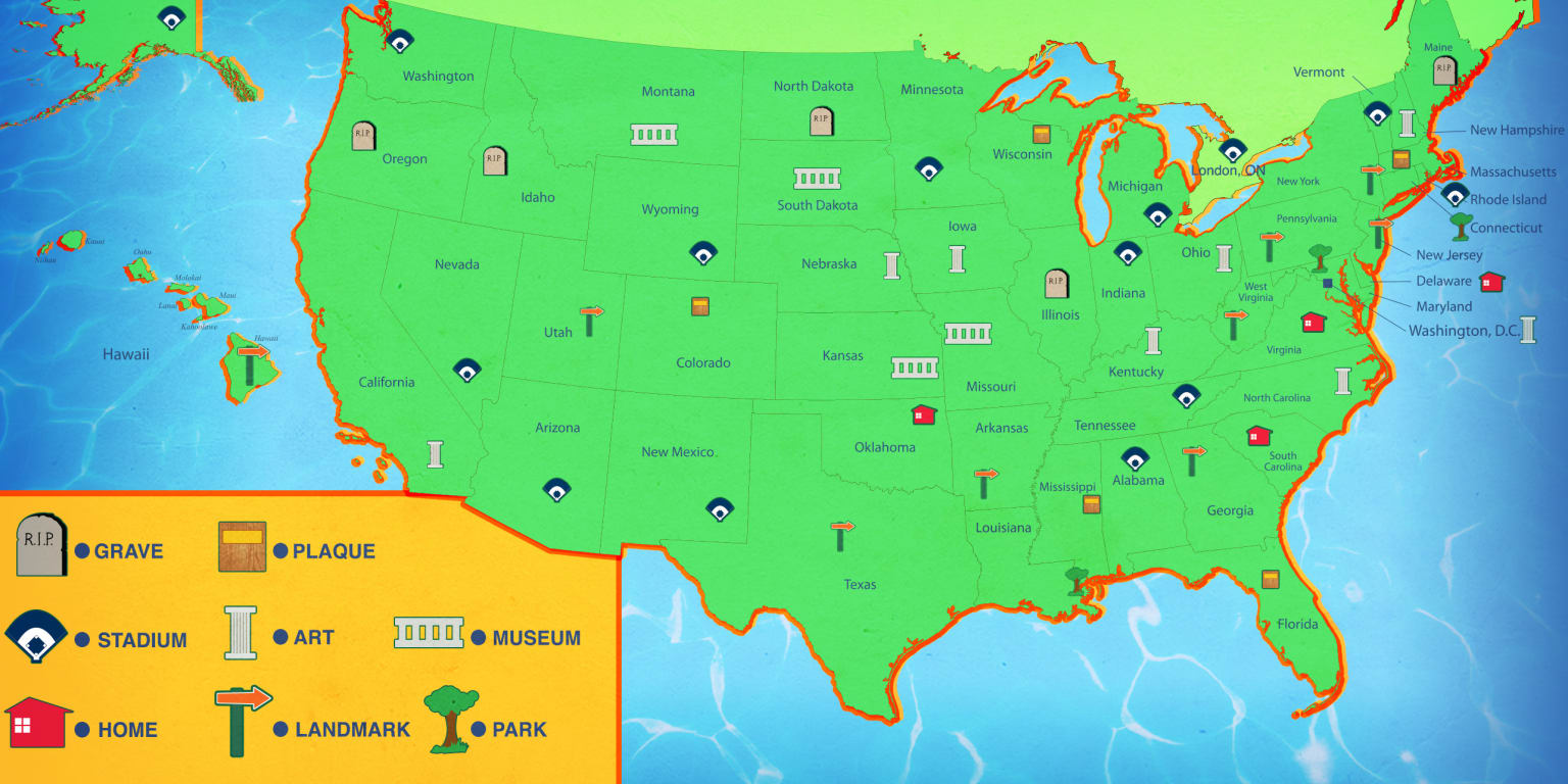 Baseball road trip locations in all 50 states (and Ontario)