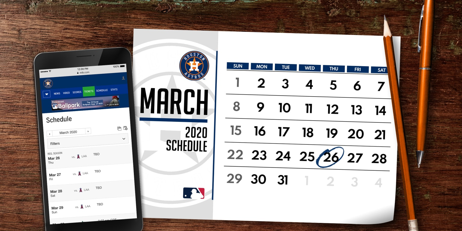 picture regarding Houston Astros Printable Schedule named Astros 2020 agenda introduced Houston Astros