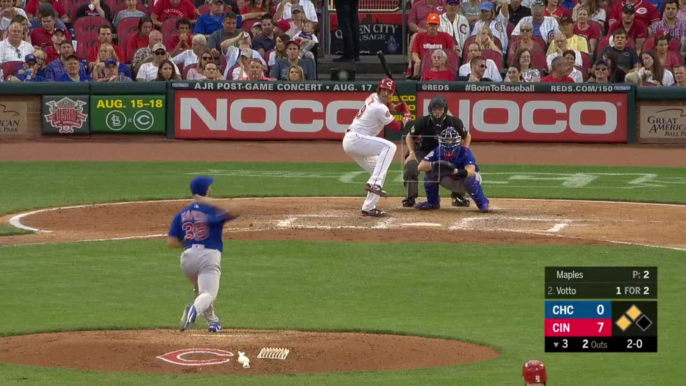 Joey Votto grounds out sharply, second baseman David Bote to first ...